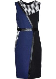 Трикотажное платье (черный/ночная синь/белый) Bonprix