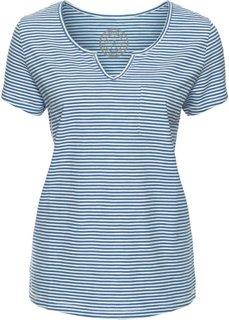 Полосатая футболка с коротким рукавом (кремовый/синий джинсовый) Bonprix
