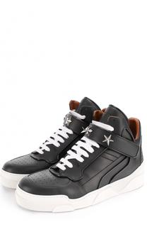 Высокие кожаные кеды на шнуровке с застежкой велькро Givenchy