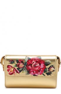 Кожаная сумка с металлизированной отделкой и цветочным принтом Dolce & Gabbana
