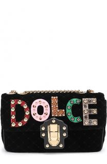 Бархатная сумка Lucia с аппликациями Dolce & Gabbana