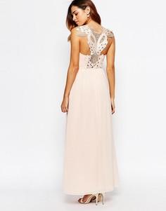 Платье макси с кружевной аппликацией на спинке Elise Ryan - Розовый