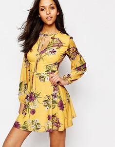 Чайное платье с длинными рукавами и завязкой Oh My Love - Мульти