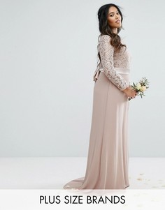 Платье макси с кружевом и бантом TFNC Plus Wedding - Серый