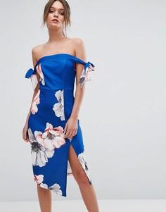 Платье миди с открытыми плечами и цветочным принтом Ginger Fizz - Мульти