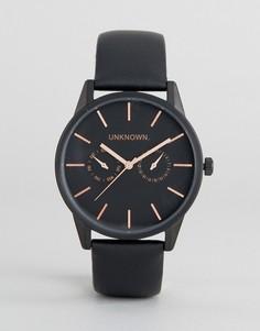 Часы с черным кожаным ремешком UNKNOWN - Черный