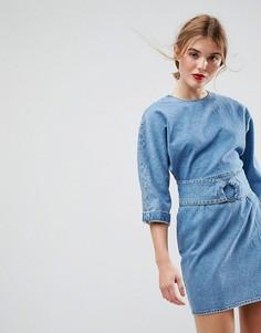 Синее джинсовое платье с поясом и кольцом ASOS - Синий