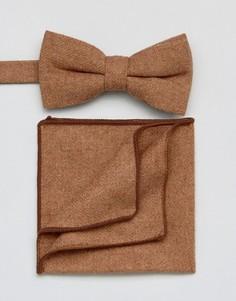 Галстук-бабочка и платок для пиджака 7X - Коричневый