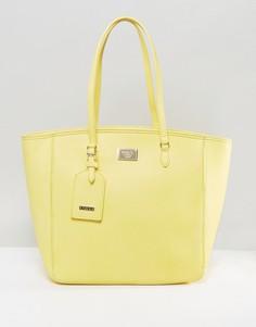 Большая желтая сумка-шоппер на молнии Marc B - Желтый