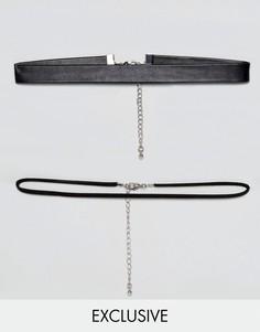 Набор из 2 ожерелий-чокеров DesignB London эксклюзивно для ASOS - Черный