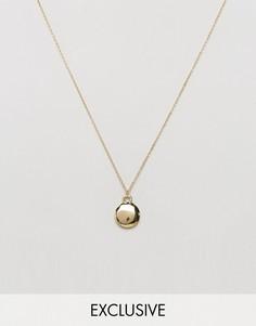 Золотистое ожерелье с овальной подвеской DesignB London эксклюзивно для ASOS - Золотой