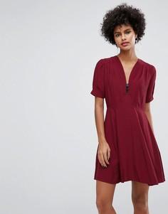 Чайное платье мини с молнией ASOS - Красный