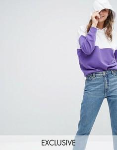 Худи колор блок Monki - Фиолетовый