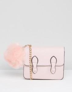 Сумка сэтчел со съемным помпоном ASOS - Розовый