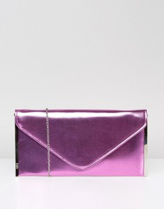 Клатч-конверт с эффектом металлик Faith - Розовый
