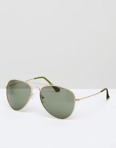 Солнцезащитные очки-авиаторы в золотистой металлической оправе AJ Morgan - Золотой