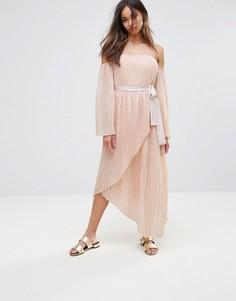 2923809b5d4 Платье миди с рукавами клеш и открытыми плечами Isla Valentine - Розовый