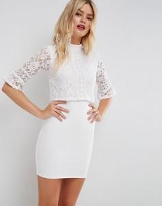 Кружевное платье мини с кроп-топом и отделкой ASOS - Белый