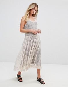 Сетчатое платье миди с принтом Selected - Мульти