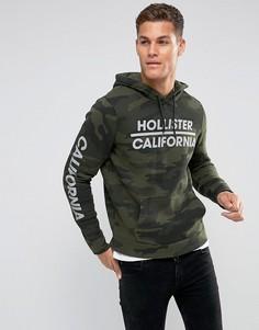 Спортивный камуфляжный худи с логотипом Hollister - Зеленый