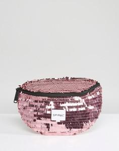 Сумка-кошелек на пояс из розовых пайеток Spiral - Розовый