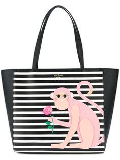 полосатая сумка на плечо с обезьяной  Kate Spade