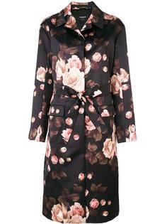 пальто миди с цветочным принтом и поясом  Rochas