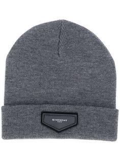 вязаная шапка с бляшкой с логотипом Givenchy