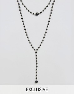 Ожерелье-чокер из бусин Reclaimed Vintage Inspired - Черный