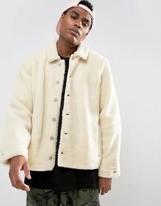 Светло-бежевая куртка из искусственного меха ASOS - Кремовый