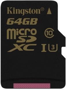 Карта памяти 64Gb - Kingston MicroSDXC Class 10 UHS-I U3 SDCG/64GBSP