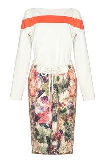 Хлопковое платье с принтом на юбке Preen