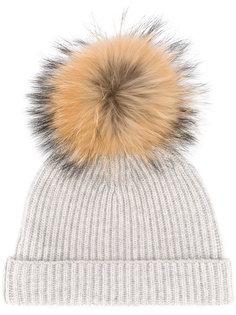 шапка в рубчик со съемным помпоном N.Peal
