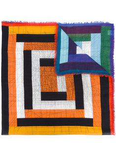 шарф с геометрическим рисунком и бахромой Faliero Sarti