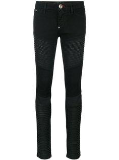 байкерские джинсы с прозрачными панелями Philipp Plein
