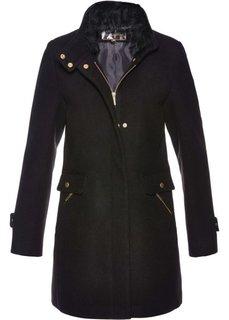 Пальто с содержанием шерсти (черный) Bonprix