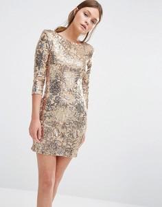 Платье мини с пайетками и рукавами 3/4 TFNC - Золотой
