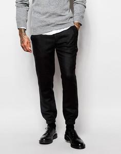 Черные полушерстяные спортивные штаны слим ASOS - Черный