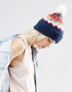 Мягкая шапка-бини с узором Фэйр-Айл и помпоном ASOS - Темно-синий