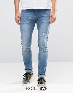 Зауженные джинсы с брызгами краски Heros Heroine - Синий