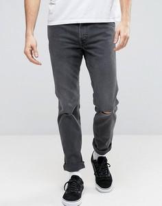 Серые джинсы слим с рваной отделкой Levis Line 8 - Серый