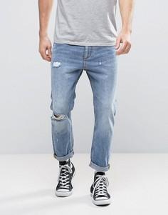 Укороченные джинсы с рваной отделкой Rollas Stubs - Синий