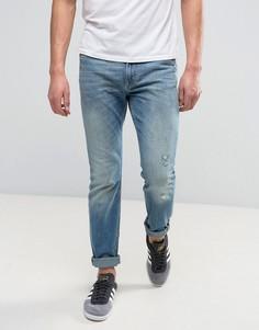 Эластичные выбеленные узкие джинсы Lee Rider - Синий