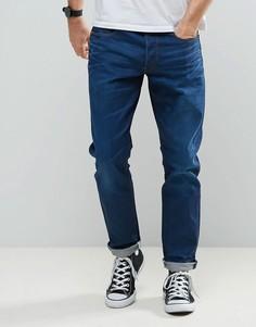 Ярко-синие выбеленные джинсы суженного книзу кроя G-Star 3301 - Синий