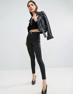 Черные джинсовые джеггинсы в полоску с завышенной талией ASOS RIVINGTON - Черный