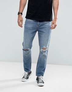 Выбеленные джинсы с рваной отделкой Rollas Stubs Orignal - Синий