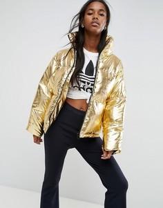 Дутая куртка с эффектом металлик ASOS - Золотой