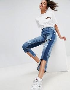 Прямые джинсы с рваной отделкой и асимметричными краями ASOS - Синий