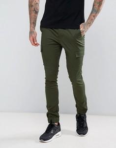 Супероблегающие джоггеры карго цвета хаки ASOS - Зеленый