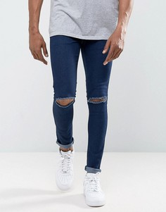 Супероблегающие джинсы с рваными коленями Criminal Damage - Синий